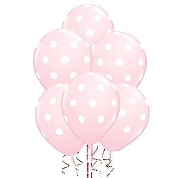 AnnoDeel 50 Pcs 12  Latex Balloons Pink Polka Dot Balloons for Brithday Balloon Wedding Balloon Decoration
