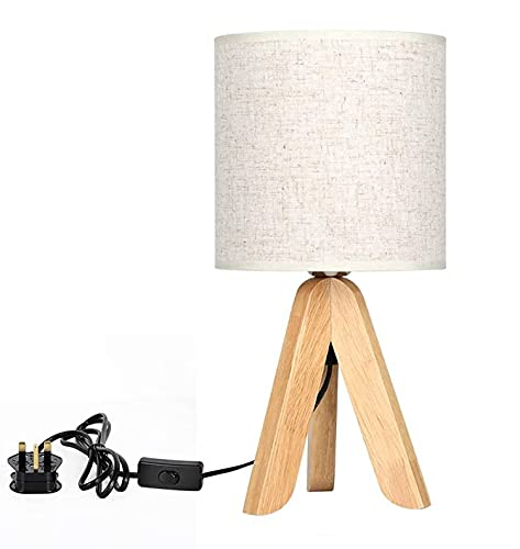 LIANTRAL Mini Table Lamp Night Light Wooden Tripod Modern Bedside Lamp Nightstand Lamp with Fabric Linen Shade for Living Room Bedroom(E27 Bulb Not Included)