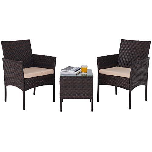 VONLUCE Balkonmöbel Set 3-teiliges Gartenmöbel Set Rattan Sitzgruppe Lounge Set mit Beistelltisch, 2 Stühlen Möbelsets für Terrasse Garten Balkon(Walnuss-3-tlg)