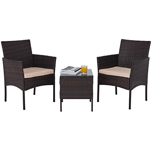 VONLUCE Set Tavolo e Sedie da Giardino in PE Rattan Arredo Esterno per Terazzi e Balconi, Set Completo Salotto da Esterno (Set da 3 Pezzi)