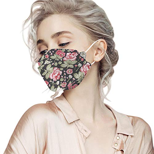 5PCs Adults KF94 Flower Print Face Mack, 4-Layers 3D Full Face Disposаble Breathable Bandanas with Filters Nose Wire for Women Men (B)