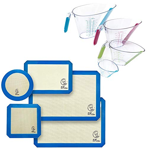 KPKitchen Silicone Baking Mats Set of 5 and 4-Piece Liquid Measuring Cups Set - 2 Half Sheets Mats + 1 Quarter Sheet Liner + 1 Round & 1 Square Mat - Includes Mini Ounce, 1, 2 and 4 Plastic Cup Sizes