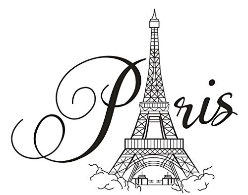 DNVEN Paris Wall Stickers Eiffel Tower Wall Decals Vinyl Lettering for Walls Quotes Eiffel Tower Decor Removable Self Adhesive Murals for Bedroom Girls Room Decorations 27 x 22 inches