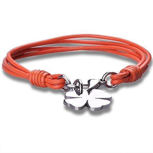 Feilok Fashion Unisex Leder Geflochtene Vier Blatt Klees Armband/Armreif, aus Edelstahl, Orange