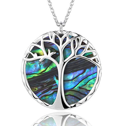 WHATOOK tree of life necklace sterling silver Natural Shell Tree of Life Round Pendant Necklace Fashion Jewelry for Women Girls (tree of life necklace silver)