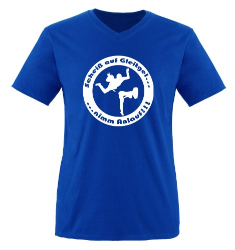 Scheiß auf Gleitgel. nimm Anlauf ! - Einfarbig - Herren V-Neck T-Shirt - Royalblau/Weiss Gr. XXL