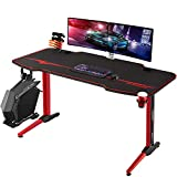 Homall Gaming Desk Computer Desk Racing Style Office Table Gamer Pc Workstation T Shaped Gamer Game Station with Free Mouse Pad, Gaming Handle Rack, Cup Holder and Headphone Hook (44 Inch, Red)