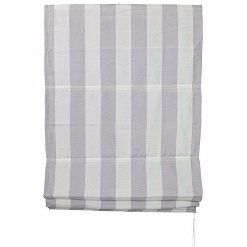 JalousieCrew Raffrollo mit Polyesterstoff Farbe hell grau weiß gestreift - Breite 60 bis 120 cm, Länge 190 cm - Gardinen - Rollo (60 x 190 cm)