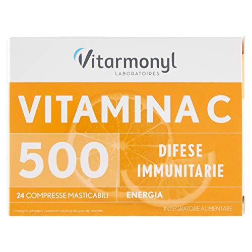 Vitarmonyl Vitamina C 500, Integratore alimentare, 3 Confezioni da 24 compresse masticabili