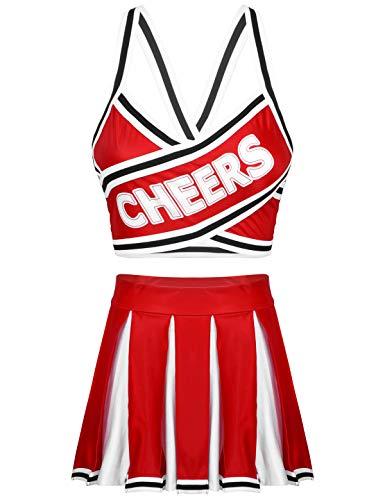 renvena Dame Cheerleading Kostüm Mädchen Cheer Leader Kleid Uniform Bauchfrei Oberteil mit Faltenrock Cosplay Halloween Fasching Verkleidung Z Rot S