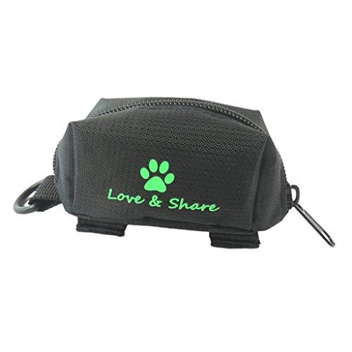 B Blesiya Hund Kotbeutelspender Kotbeutelhalter mit Klettverschluss für Hundeleine - Schwarz