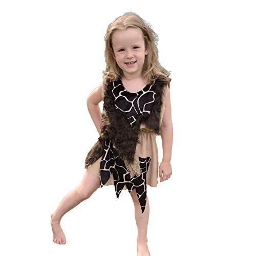 Kinderkostüm Steinzeit Mädchen Gr. 116 Kleid braun Neandertaler Urmensch Karneval