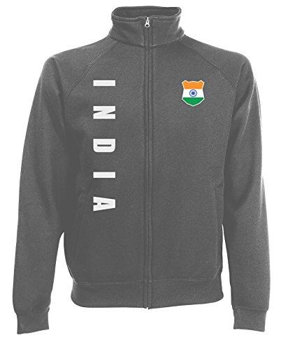 AkyTEX Indien India Sweatjacke Jacke Trikot Wunschname Wunschnummer (Graphit, M)