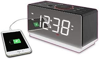 Emerson White Jumbo Mirror Display Dual Alarm Clock Radio with USB Charging, Shuttle Wheel, LED Decor, Earphone Jack and Bluetooth Speaker, ER100116