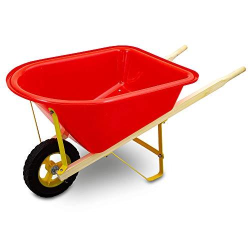 MS Point Kinderschubkarre Schiebkarre Schubkarre für Garten Sandkasten und Strand (Rot)