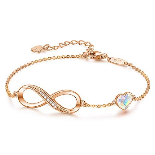 CDE Infinity Heart Symbol Charm Bracelet for Women 925 Sterling Silver Adjustable Valentine's DayJewelry Gift Birthday Gift for Mom Women Wife Girls Her