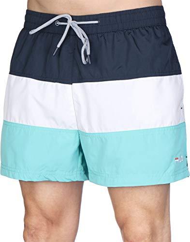 FILA Badehose Herren SALOSO Swim Shorts 687203 A193 Black Iris/Bright White/Blue Curacao, Größe:XXL
