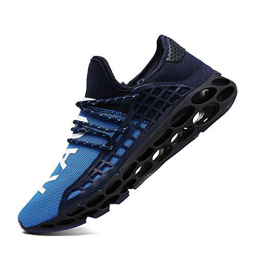 XIDISO Mens Running Shoes Womens Slip On Blade Mesh Fashion Men's Sneakers Athletic Tennis Sports Cross Training Casual Walking Shoe for Men Blue