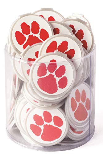 Mascot PAW Print School Spirit Bulk Bookmarks- RED Clip Over The Page 75 Pack - Bulk Bookmarks for Kids Girls Boys. Perfect Student Incentives Prizes Party Favors Classroom Rewards & Reading Awards!