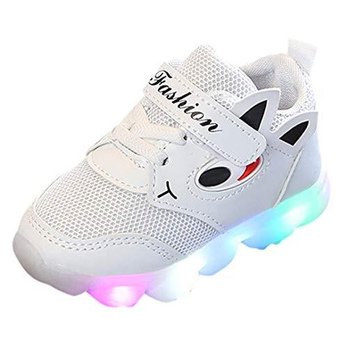 QinMM Kleinkind Baby Girs Led Licht Schuhe, Jungen Weiche Luminous Outdoor Sportschuhe Herbst Winter Turnschuhe Rot Weiß Rosa 20 EU-29 EU (23 EU, Weiß)
