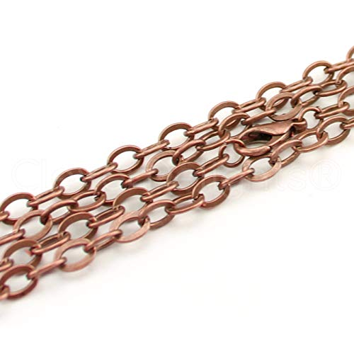 """5 Pack - CleverDelights 5x7mm Flat Oval Link Necklaces - Antique Copper Color - 24"""" - Vintage Style Chains"""