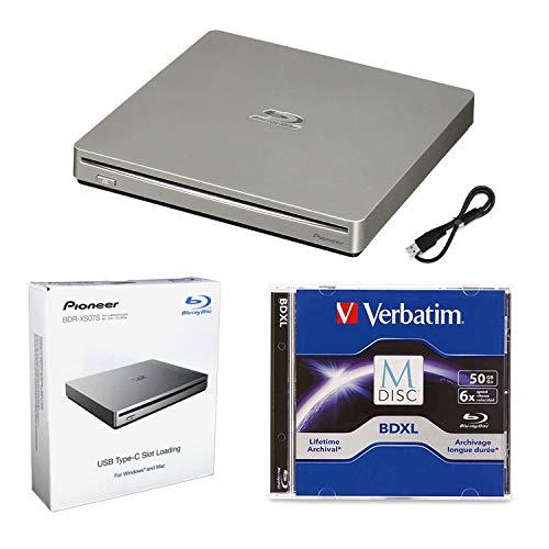 Pioneer BDR-XS07S Pacchetto unità esterna masterizzatore Blu-ray 6x portatile con 50 GB M-DISC BD-R DL e cavo USB - Masterizza dischi CD DVD BD DL BDXL