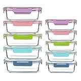 Juego de 10 recipientes de Vidrio para Alimentos, Grandes contenedores para Preparar Comidas con Tapas Multicolor para el hogar, Cocina o Restaurante