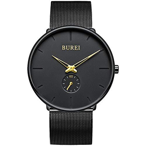 BUREI Herren Uhren Quarz Armbanduhr Schwarz Analoganzeige Schlichtes Design Klassisches Edelstahlgitterband