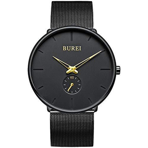 BUREI Orologio da uomo minimalista ultra sottile nero grande quadrante oro lancette analogico orologio da polso al quarzo unisex con cinturino a maglie in acciaio inossidabile nero