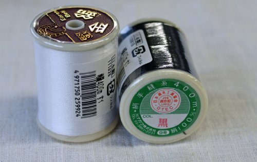 カナガワ 絹手縫い糸400m ボビン巻き  白