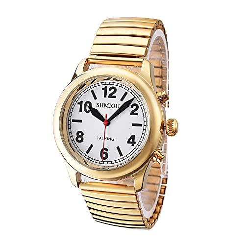 Reloj parlante unisex francés dorado para personas mayores, ciegos con...