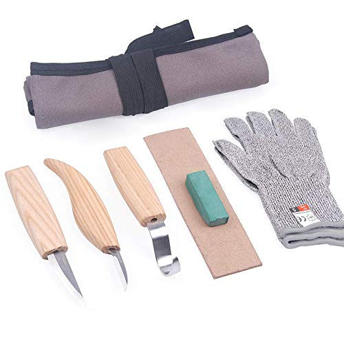 Wood Carving Tools Set+Cut Resistant Gloves,Spoon Carving Hook Knife, Wood Carving Whittling Knife, Chip Carving Detail Knife, Leather Strop and Polishing Compound (5PCS)