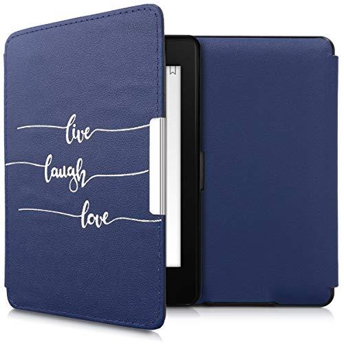 kwmobile Carcasa Compatible con Amazon Kindle Paperwhite - Funda para e-Reader de Piel sintética - Plata/Azul Oscuro