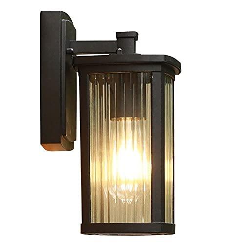 Luz de la pared europea Accesorios de iluminación for exteriores Montaje de pared, lámpara de pared en el pasillo de la villa al aire libre Wall Sconence impermeable pared exterior linterna Final negr