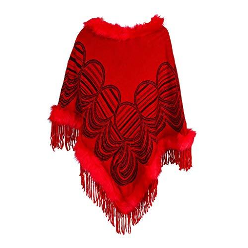 Deloito Herbst Winter Strickjacken Damen Vintage Druckmuster Poncho Gestrickt Pelzkragen Sweatshirt Dual-Use Mantel Kaschmir Umhänge Schal (Rot,Freie Größe)