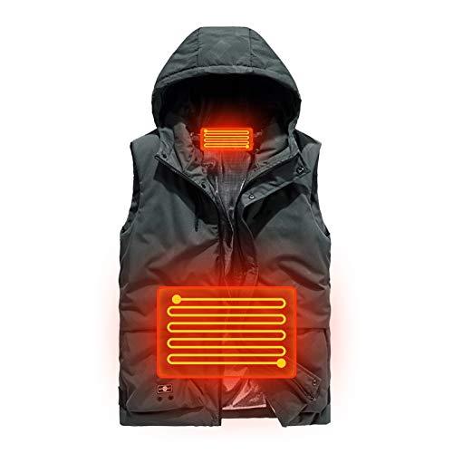 WYBY Hochwertige elektrische Heizungsweste mit Kapuzejacke für Männer Frauen-USB-Heizung Gilets-Heizungs-Weste-Weste-Radfahren/Arbeit/Indoor ArmyGreen-L
