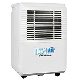 Ideal-Air 700830 30 Pint Dehumidifier 1 Rated at 30 pints per day at 86°F/80% rH;Quick maintenance with easy filter access that is removable and washable;Low temperature defrosting;Easy to move with built in handles and wheels;Easy to use LED display panel;Removable water tank with an automatic shutoff when reservoir is full;The reservoir for the dehumidifiers is 6 liters or 12.5 pints;Can be plumbed for permanent drainage;30 Pint is 4.0 Amps/420 Watts;115 volt Country of Origin: China Brand Name: Ideal-Air