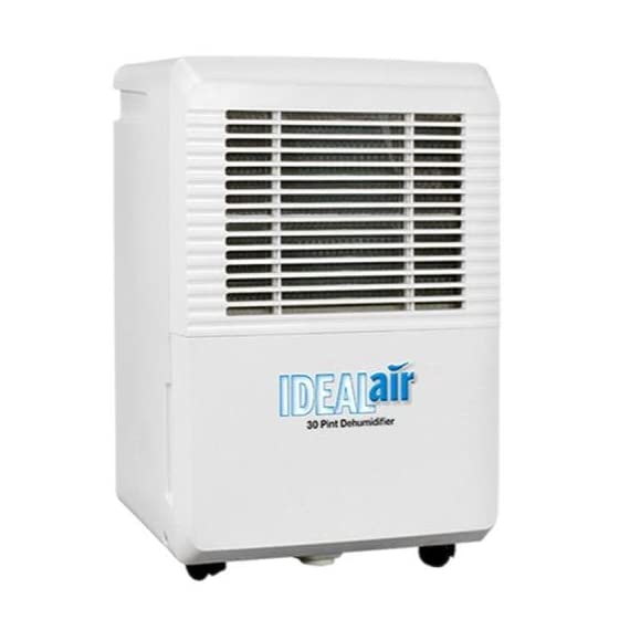 Ideal-air 700830 30 pint dehumidifier 1 rated at 30 pints per day at 86°f/80% rh;quick maintenance with easy filter access that is removable and washable;low temperature defrosting;easy to move with built in handles and wheels;easy to use led display panel;removable water tank with an automatic shutoff when reservoir is full;the reservoir for the dehumidifiers is 6 liters or 12. 5 pints;can be plumbed for permanent drainage;30 pint is 4. 0 amps/420 watts;115 volt country of origin: china brand name: ideal-air