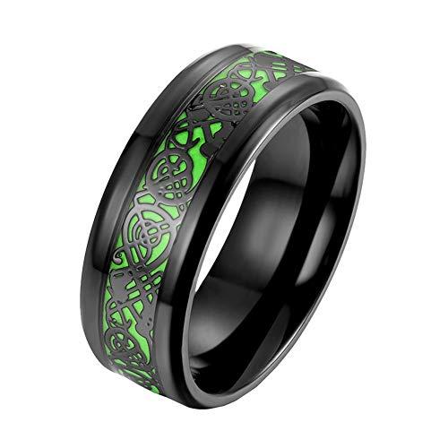 OAKKY Men's Women's Stainless Steel Hip Hop Green Luminous Celtic Dragon Pattern Weding Ring Black Size 9
