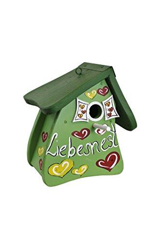 Die Vogelvilla, Nistmini Liebesnest Herzen, Nistkasten, Vogelhaus, grün