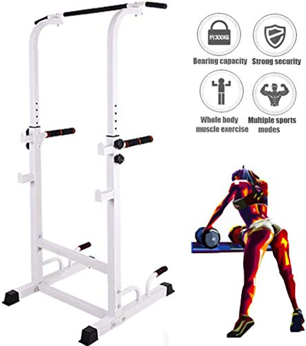Single Double Bars Squat Rack-Halter Gym Fitness Gewicht Liftting Ständer Einstellbare Höhe Pull Up & Dip-Station Workout-Station,Weiß