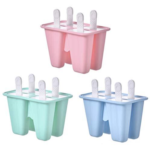 BESTOMZ Eislolly Mould 4 Stücke Wiederverwendbare Silikon-Pappel-Form Leicht zu Entfernen Eislolly-Maker für Kinder, Kleinkinder Und Erwachsene (Rosa)