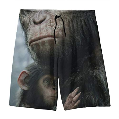 HADIHADI Dawn Planet Apes Hawaii-Shorts für Herren, schnelltrocknend, 3D-Druck, elastisch, Strand-Shorts mit Tasche Gr. 35, weiß