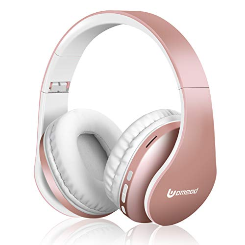 Bluetooth Headphones Wireless,Uomeod Over Ear Stereo Headset V5.0 with Microphone, Foldable & Lightweight, Support Tf Card MP3 and FM Radio for Cellphones Laptop