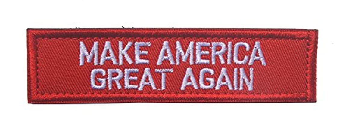Trump 2020 Morale Sewn On Patch Make America Great Again Tactical Military Army Gear Embroidered Hook&Loop Fastener Backing Emblem Collectable Patches (Make America Great Again(Red))