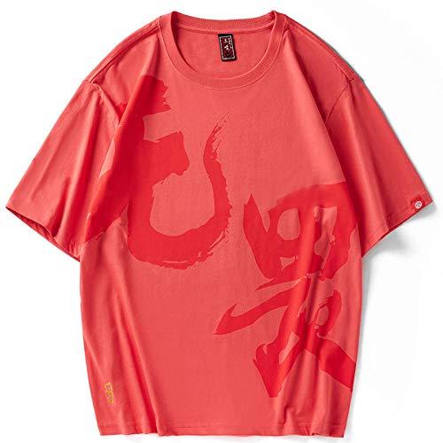 Mens Rainbow mehrfarbiger Textstickdruck Rundhalsausschnitt Lässig lose Baumwolloberteile Freizeithemd T-Shirt