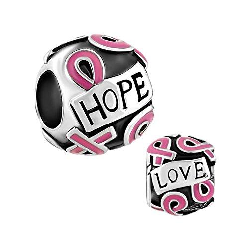 Sug Jasmin–Juego de cáncer de mama lazo rosa esperanza de cuentas para pulseras