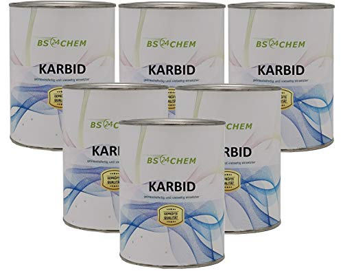 BS24CHEM 3 Kg Karbit (Kabit Kabitt karbitt Karbit Karbid Steine) nur 2,2% Staubanteil lang anhaltendes Gas (Karbid Lamp Lab Nr.6399az216)(24h Sofort - Versand DHL) (6x500gramm) (3 Kg)