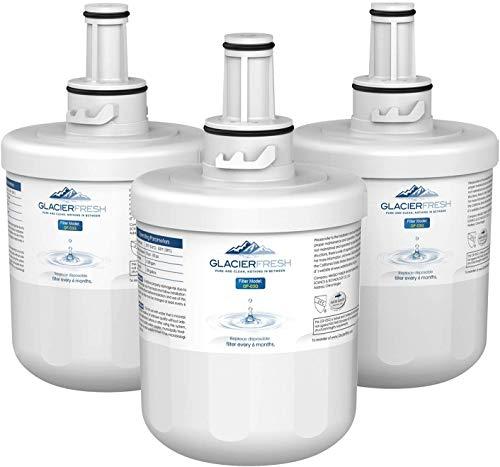 GLACIER FRESH DA29-00003G Refrigerator Water Filter, Compatible with Samsung DA29-00003G, DA29-00003B, DA29-00003A, Aqua-Pure Plus, HAFCU1, WSS-1, FMS-1, RFG237AARS, RS22HDHPNSR, RSG257AARS, Pack of 3