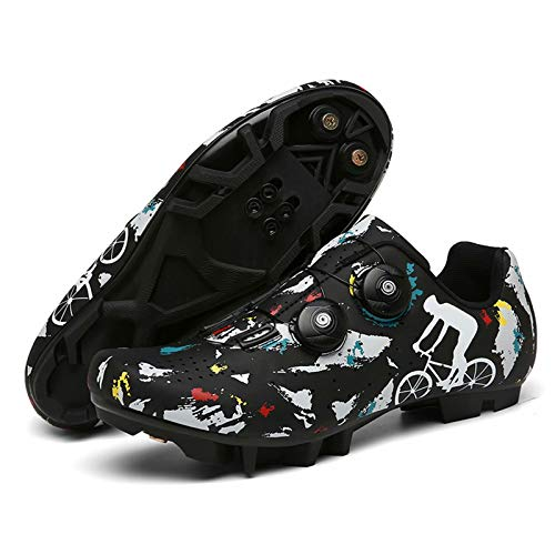 Cycling Shoes Mountain Bike - Mens MTB Cycling Shoes SPD Mountain Bike Shoes Breathable Outdoor Cycle Shoes with SPD Cleats Black